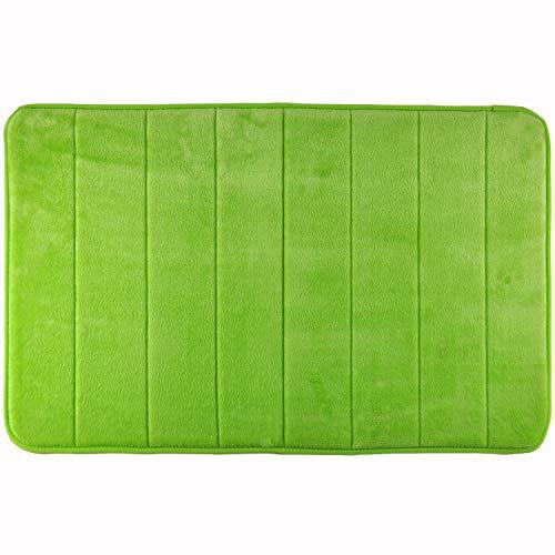 WohnDirect Duft Badezimmer-Teppich Grün - Rutschfester Badvorleger - Waschbar & Schnelltrocknend - Moderner weicher Microfaser Duschvorleger - Badteppich fürs Badezimmer