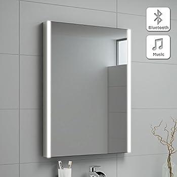 500 x 700 mm modern illuminated led bathroom mirror with bluetooth speaker mc128 ibathuk for Bathroom light with bluetooth speaker