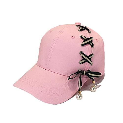 NICOLAS Neue Frauen-Persönlichkeits-Bindungs-Bogen-Baseballmützen, Visier-Kind-Schwarz-Bügel-Perlen-Hut, Dame Fashion Snapback Hats, Kappen-Großhandel (Color : Pink, Size : Child(48-54 cm))