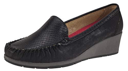 Elifano Footwear Mokassins Damen Schuhen mit Hochwertigem PU-Leder mit Keilabsatz (38 EU, Black)