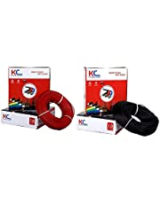 """Happy Selling"" KC-Cab PVC Insulated 1 Sq mm Single Core Flexible Copper Wire (180 m Coil, Red and Black) - Pack of 2"