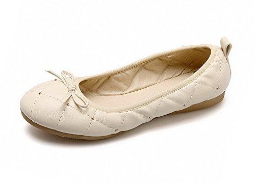 Couleur à Tire PU Chaussures VogueZone009 Bas Légeres Talon Cuir Femme Beige Unie xwqf18Y
