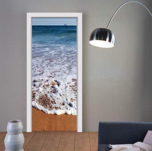 3D Tür Wandbild Wrap Glänzende Blase Freie Aufkleber Architektonische Geschnitzte Türen Schälen und Stick Einfach zu Reinigen Strand Kunst Türen Aufkleber -