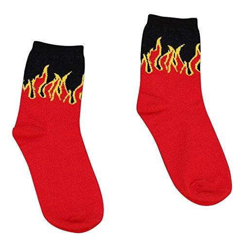 YAMALL Hip Hop Design Red Flame Muster Crew Socken Klassische Baumwolle Lange Socke