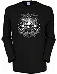 Gitarre Skull Totenkopf Musiker Rock n Roll Herren Langarmshirt in schwarz