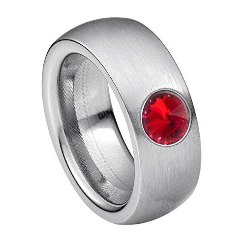 Heideman Damen Ring coma Schmuckring Fashionring Silber farbend matt aus Edelstahl mit Stein siam rot von Swarovski | Ringgröße: 57