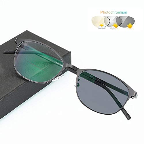 Eyetary Bifokale Lesebrille mit Übergang Photochromic, Ovaler Metallrahmen Klare Flache Linse Sonnenbrille Outdoor-Readers - UV400 / Blendschutz/Vergrößerung 1,00 bis 3,00 Stärke,Gray,+2.0