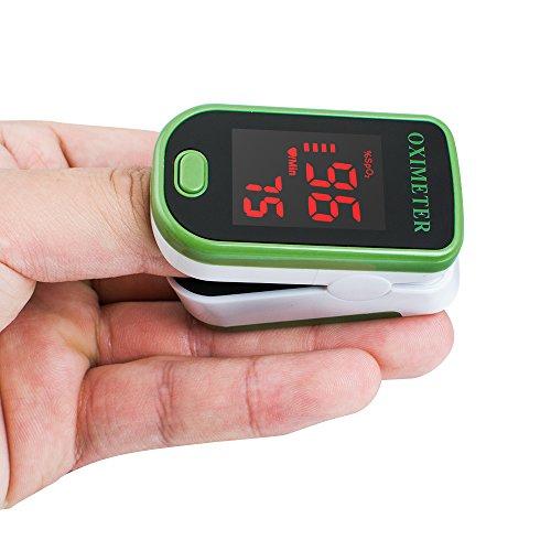 Denshine tragbares LED-Finger-Pulsoximeter für den Blutsauerstoffgehalt SpO2, Monitor, Grün