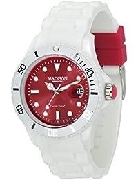 Madison New York - SU4359R8 - Montre Mixte - Quartz Analogique - Cadran Rouge - Bracelet Silicone Blanc
