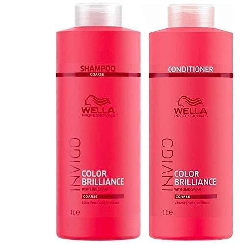 Wella Professionals Brilliance Duo Color Shampoo 1000ml und Conditioner 1000ml für Haar/dickes Haar - Haar Shampoo Conditioner