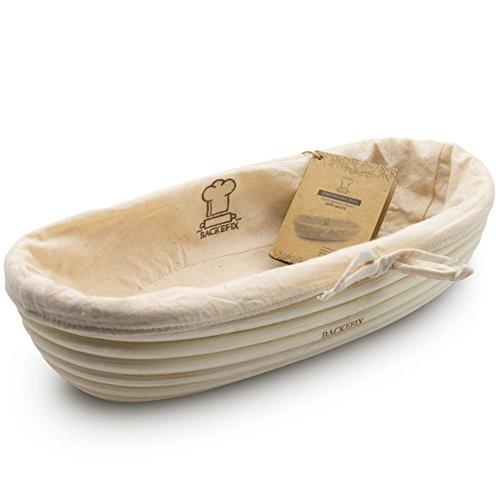 Backefix Gärkörbchen Gärkorb Gaerkorb Natur für selbstgemachtes Brot - Zero Waste nachhaltig ovaler Brotkorb aus Peddigrohr 30cm Proofing Basket