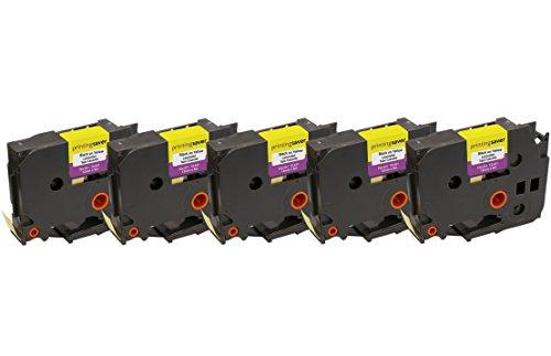5x TZe631 TZe 631 Nero su Giallo 12mm x 8m Cassetta Nastro per Etichette compatibile per Brother P-Touch PT-1000 1005 1010 3600 D210 D210VP D400 D450VP D600VP H101C H101GB H105 H110 H300 P700 P750W