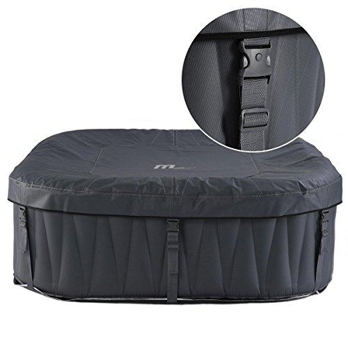 Whirlpool MSpa aufblasbar für 6 Personen SPA 185x185cm In-Outdoor Pool 132 Massagedüsen Timer Heizung Aufblasfunktion per Knopfdruck TÜV geprüft Bubble Spa Wellness Massage - 8