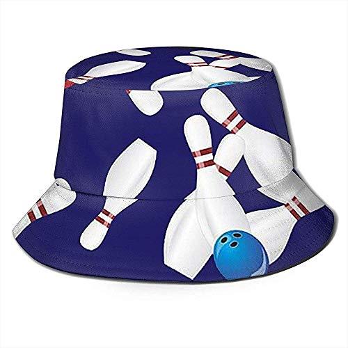 Bowling Collage Bucket Hat Sommer UV Sun Fisherman Cap Unisex für Reisen Strand im Freien