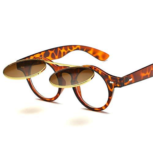 DAIYSNAFDN Vintage Runde Punk Sonnenbrille Männer Runde Sonnenbrille Designer Frauen Steampunk Sonnenbrille C3