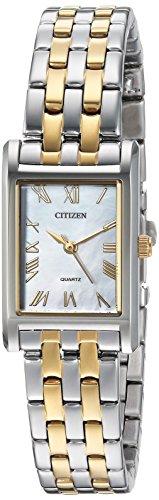 Citizen orologio al quarzo acciaio INOX casual da donna, colore: due tonalità (Model: EJ6124–53D)