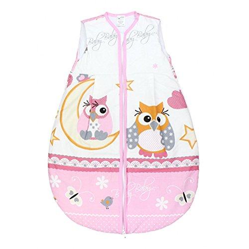 TupTam Babyschlafsack Wattiert Ohne Ärmel ANK002, Farbe: Eulen Rosa, Größe: 62-74