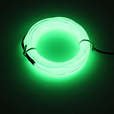 Lerway Light Green 5M Tron Neon Glowing Electroluminescent Wire EL Wire with Transformer Christmas Light Party light