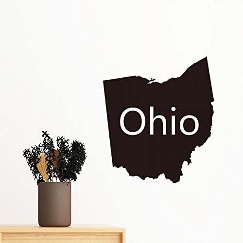 Ohio der Vereinigten Staaten von Amerika USA Karte Silhouette abnehmbarer Wandtattoo Kunst Aufkleber Wandbild DIY Tapete für Raum Aufkleber 40cm (Vereinigte Staaten-map-kunst)