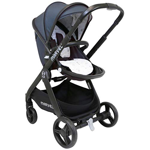 iSafe Marvel 2in1 Complete Pram System Pushchair and Carseat - Charcoal Black  iSafe