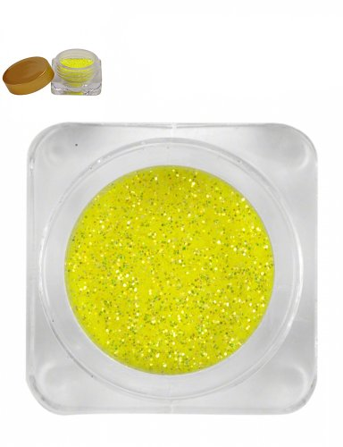 Pot Paillettes poudre scintillante fluo jaune idéal nail art - Ref2951
