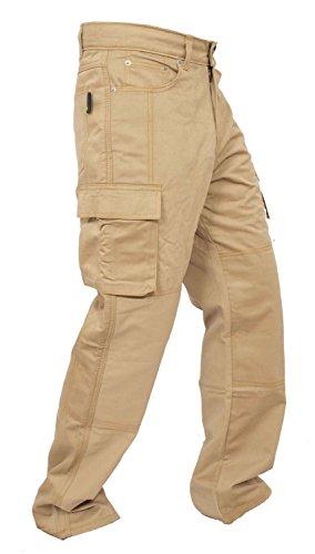 Newfacelook Motorradhose Rustungen Arbeitshosen Jeans Fracht Verstärkt durch Aramid Schutzauskleidung Hellbraun W34 L34