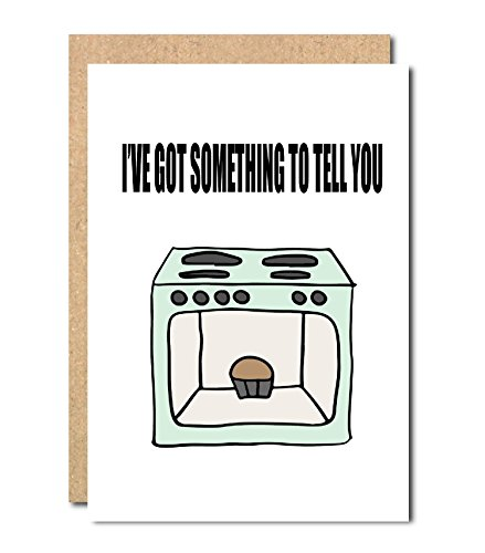 Pregnancy announcement Greeting Card Oven in the Bun Baby Shower new mum to be