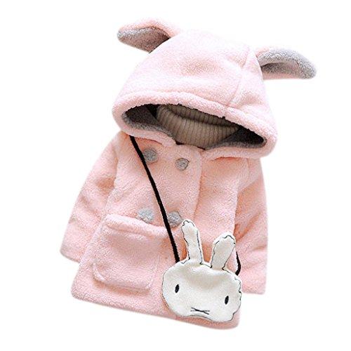 Bekleidung Longra Baby Kleinkind Mädchen Fell Winter warme Kapuzen Mantel winterjacke Kinderjacken Dicke warme Kleidung (0-24 Monate) (70CM (0-9 Monate), Pink)