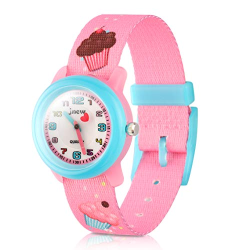 Kinder Armbanduhr Kinderuhr,Cute Cartoon Digital Uhr Wasserdicht Textil Lehruhr mit umweltfreundliches Textil Armband,Geschenk für Kleine Mädchen Jungen Kids Kinder (Pink Eiscreme)