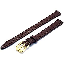 Ladies Soft Genuine Leather XL Extra Long Watch Strap Band 10mm Brown With Gilt (Gold Colour) Buckle