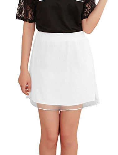 Taille naturels pour femme Fermeture Éclair latérale cachée Sweet Mini jupe en Organza Blanc