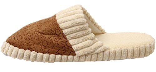 Invernali Uomo Pantofole Peluche Coral Fleece Pantofole Coppia Lettere Pantofola marrone