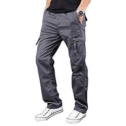 Elonglin Hommes Coton Cargo Pantalons Multipoches Style Militaire Pantalon de Travail Pantalons de Combat Gris FR 42-44 (Asie XL)