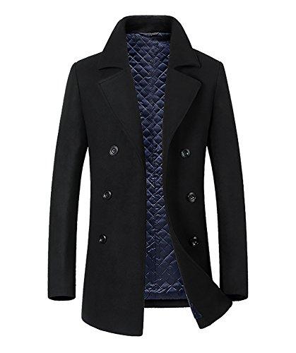 Herren Mantel Pea Coat Seemannsjacke Wolle Mischung Mariner Jacke Cabanjacke Schwarz (Mantel Wolle Mischung Jacke)