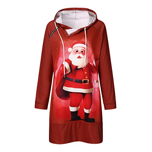 LOPILY Weihnachtskleid Damen Jumperkleider mit 3D Optiken Weihnachten Motiven Locker Sweatkleid Lose Kapuzenkleider Damen für Weihnachtsfeier für Weihnachtsfeier Vintage Spitzenkleider (Rot, L)