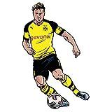 Wandsticker BVB Comic Spieler Mario Götze Borussia Dortmund Fußball Bundesliga Sport Verein Tricot Mittelfeld Sticker selbstklebend Wall-Art - Größe