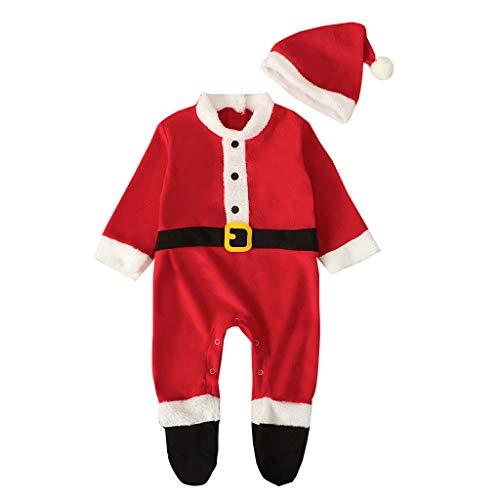 Coversolate 2 Stück Set Weihnachten Neugeborenes Baby Spielanzug Weihnachtsmann Kostüm Strampler mit Füßen + Weihnachtsmütze Overalls Outfits
