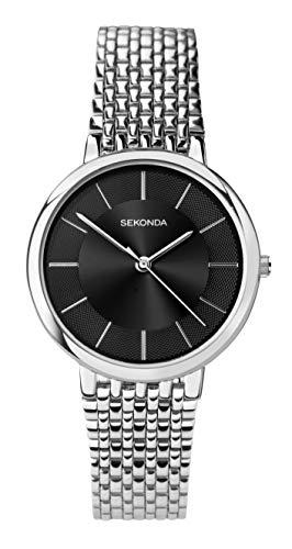 Sekonda bracciale da uomo in acciaio INOX nero quadrante orologio da polso 1619