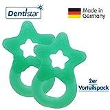 Dentistar Beißring im 2er-Set - Stern - Zahnungshilfe für Babys ab 3 Monate - Kühlbeißring Baby aus TPE - Made in Germany – Mint Minze Grün