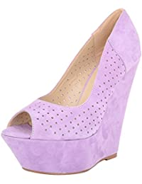 Vincenzio Robertina Women's Purple Leather Platform Heels