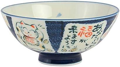 Minorutouki 705246 Mino-yaki Japanische Reisschüssel, extra groß, Katzen-Blau