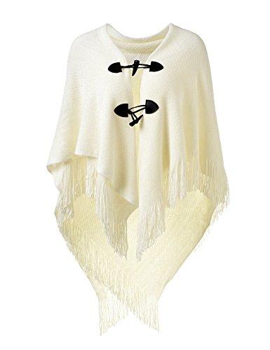 Ferand Poncho-Schal in lässiger Passform mit Stylischen Hornknöpfen, V-Ausschnitt und V-Saum für Frauen, Weiß