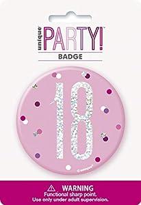 Unique Party 83530 - Insignia de cumpleaños, color rosa y plateado