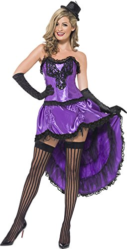 Kostüm Burlesque Tänzerinnen - Smiffys, Damen Burlesque Tänzerin Kostüm, Korsett und einstellbarer Rock, Größe: S, 43884