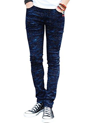 Hommes Imprimé Taille Moyenne Braguette Zip Fermeture Bouton Slim Fit Pantalon Décontracté Marine Bleus