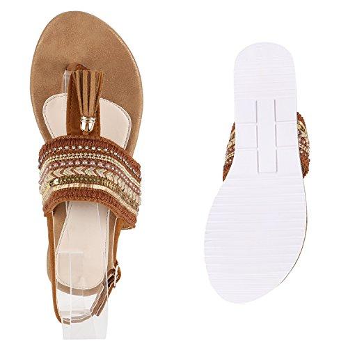 Damen Komfort-Sandalen Metallic Sandale Bequemschuh Profilsohle Braun Strick Quaste