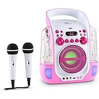 Auna Kara Liquida • Karaoke para niños • Set de Karaoke • 2 x micrófonos dinámicos • Reproductor de CD+G • Puerto USB • Compatible con MP3 • Salida de Video • Salida de Audio (Rosa)