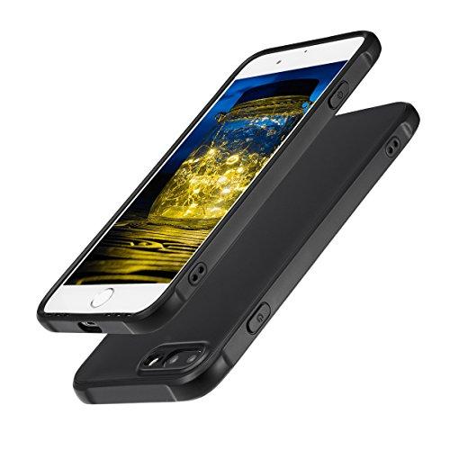 Hülle für iPhone 7 plus,NONZERS Handyhülle Premium Schutzhülle - Kratzfest Stoßfest Fingerabdruck, Staubdicht und Wasserdicht Weiche TPU Case für iPhone 7 plus(Schwarz)