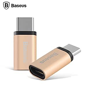 Baseus Sharp Micro To Type-C Adapter Convert Connector for Nexus 5X 2015, Nexus 6P, OnePlus 2, Upgraded and Approved to Meet USB-C Standard (Gold)