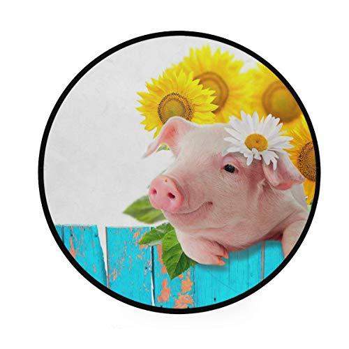 CPYang Teppich, Motiv Schwein, Sonnenblume, Gänseblümchen, rutschfest, rund, für Wohnzimmer, Schlafzimmer, Flur, Heimdekoration, Durchmesser: 92 cm